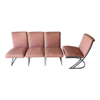 Vintage Upholstered Chrome Z Chairs - Set of 4 For Sale