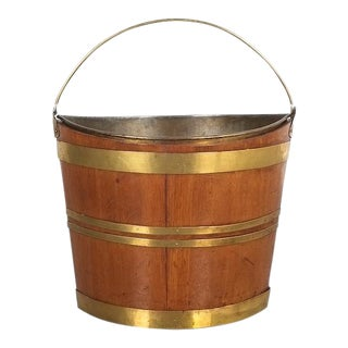 Irish 19th Century Oval Oak Brass Peat Bucket For Sale