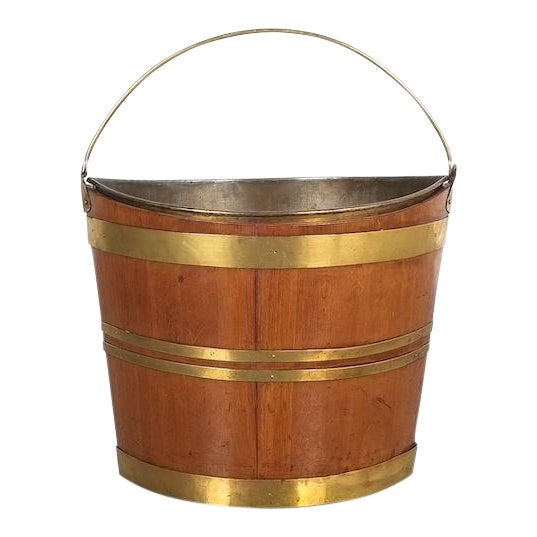 Irish 19th Century Oval Oak Brass Peat Bucket For Sale