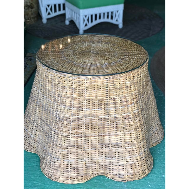 Amazing large wicker rattan weave Trompe l'Oeil draped pedestal table. Normal scuffs and scrapes to the as found vintage...