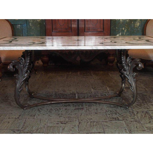 Antique Italian Mosaic Marble Table on French Iron Table Base - Image 4 of 8