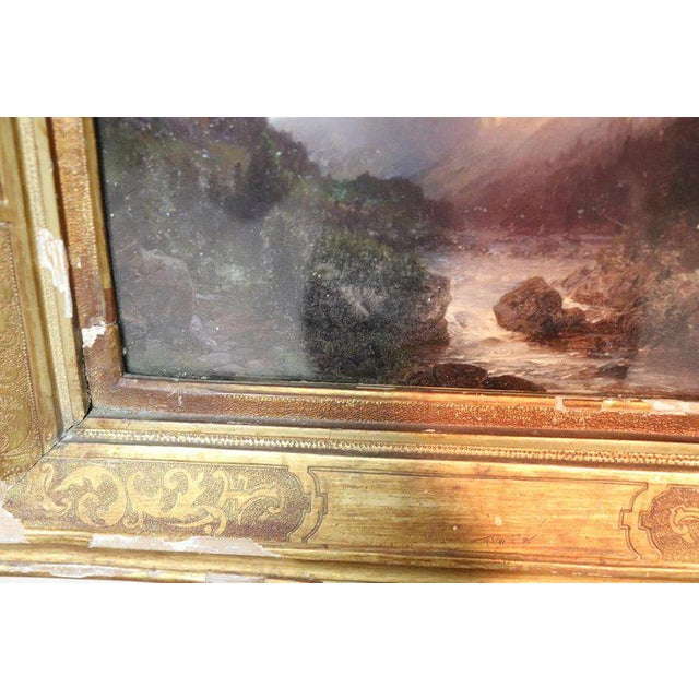 Italian Oil Painting Mountain Landscape With Golden Frame For Sale - Image 12 of 13