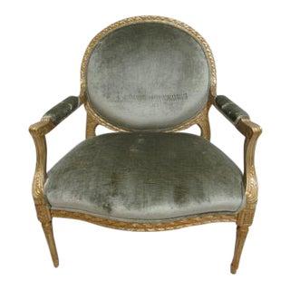 Custom Italian Regency Gold Carved Arm Chair