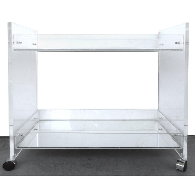 Metal Bi-Level Rolling Lucite Bar Cart with Mirrored Serving Surfaces For Sale - Image 7 of 7