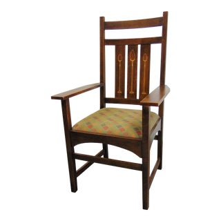 Stickley Harvey Ellis Design Oak Inlaid Arm Chair For Sale