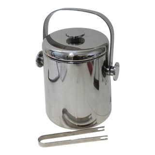Vintage W M F Japan Ice Bucket With Tongs Stainless Steel For Sale