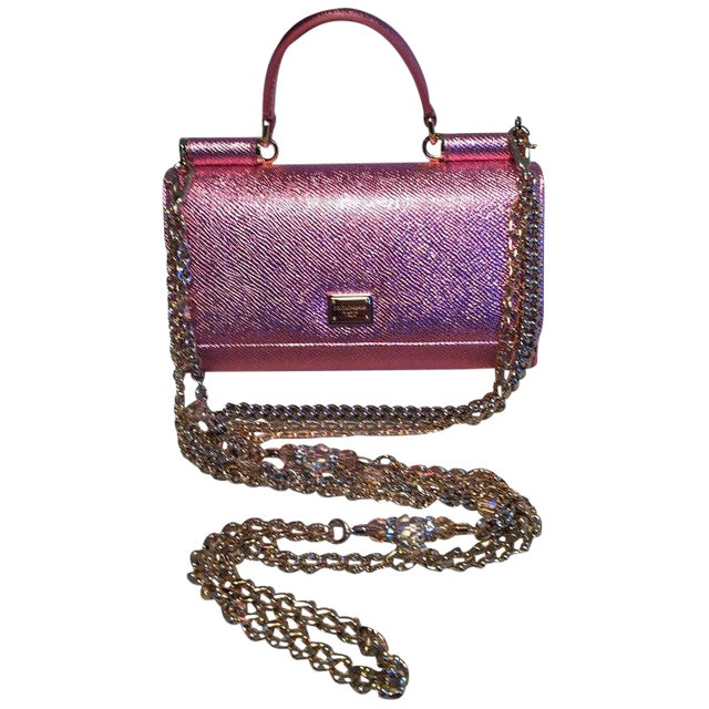 Nwot Dolce and Gabbana Pink Sicily Von Wallet Cell Phone Clutch Purse For Sale
