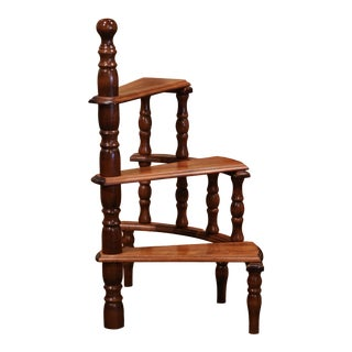 Mid-20th Century French Louis XIII Carved Library Three-Step Ladder Staircase For Sale
