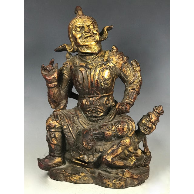 Chinese art carved bronze Warrior. Made of bronze. Very fine carving and detailed. Very good and excellent condition.