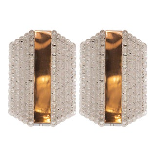 Pair of Midcentury Glass Sconces in Textured Glass by Kaiser Leuchten For Sale
