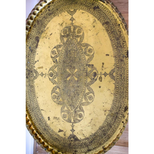 20th Century Moroccan Brass Tray and Teak Spider Leg Table For Sale - Image 10 of 13