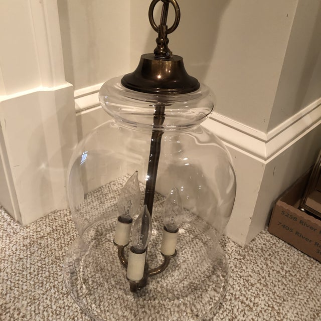 Rustic Handblown Vintage Bell Jar Pendant Light For Sale - Image 3 of 12