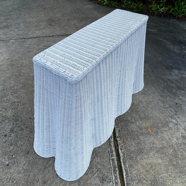 Trompe-l'Oeil Natural Rattan Console Table For Sale - Image 4 of 12