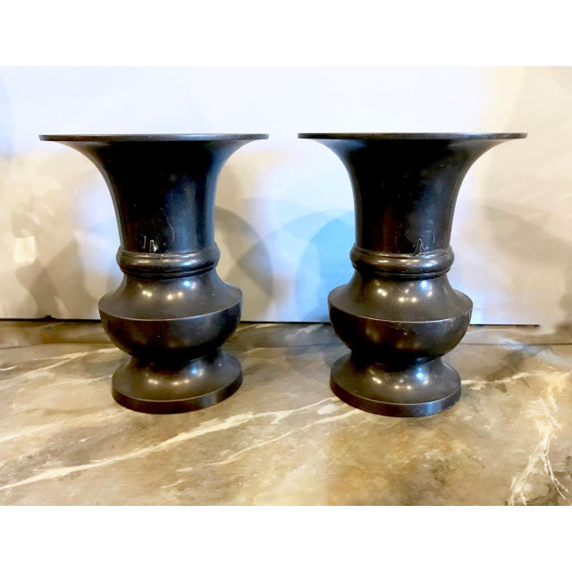 Japanese Bronze Urns, 19th C. For Sale - Image 4 of 8