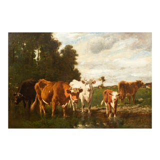 French Antique Barbizon Landscape Painting of Cattle by Emile Van Marcke For Sale