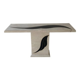 Postmodern Maitland Smith Style Tessellated Stone Console Table For Sale