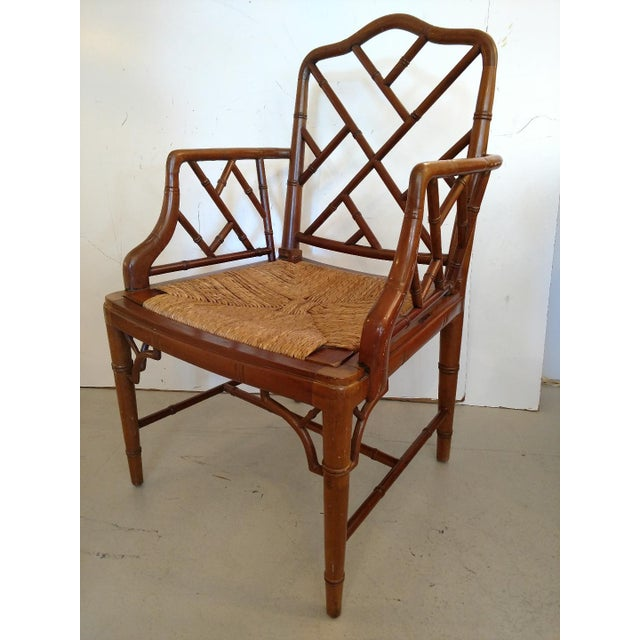 Vintage Chippendale Faux Bamboo Armchair For Sale - Image 9 of 9