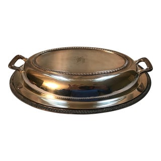 Silver Covered Meat Dish Monogram H For Sale