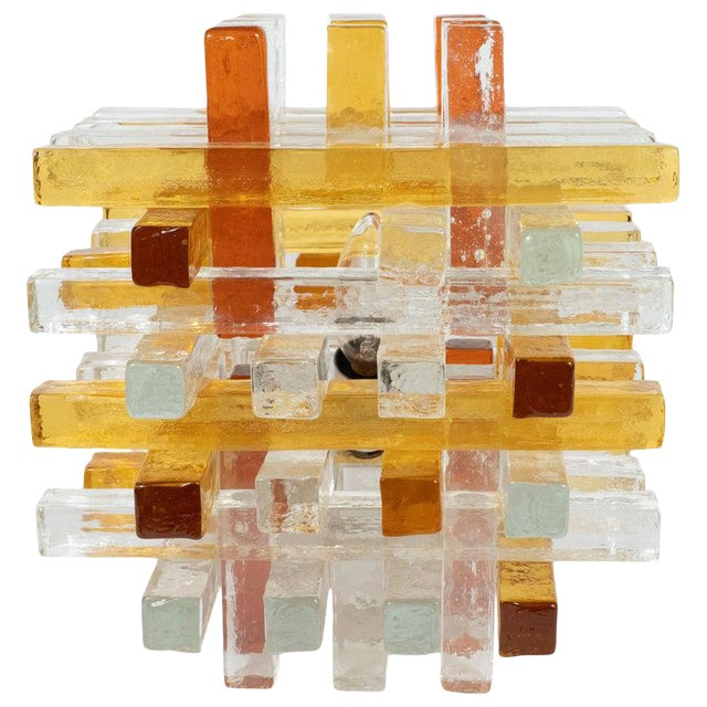 Mid-Century Modern Cubist Veronese Amber Hued Glass Table Lamp by Poliarte For Sale
