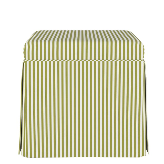 Not Yet Made - Made To Order Skirted Storage Ottoman in Candy Stripe Olive Oga For Sale - Image 5 of 5