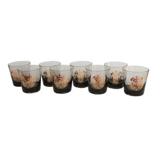 Gold Spirograph Smoked Lowball Glasses - Set of 8 For Sale