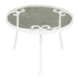 """Woodard """"French Country"""" Wrought Iron Round Glass Top Patio Side Table For Sale"""