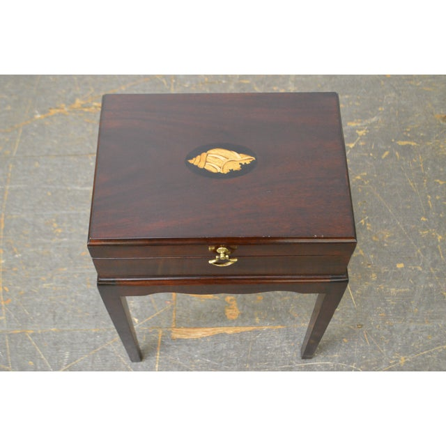 Federal Madison Square Stickley Federal Style Mahogany Inlaid Silver Chest on Chest For Sale - Image 3 of 8
