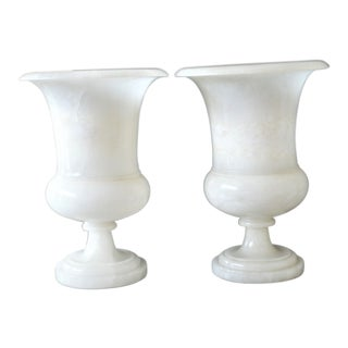 Art Deco White Marble Urns Converted Into Table Lamps - a Pair For Sale
