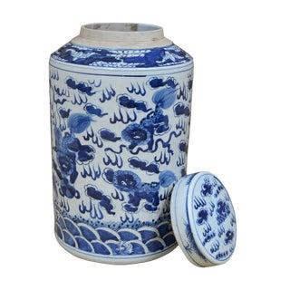 Sarreid LTD Blue & White Ceramic Urn For Sale