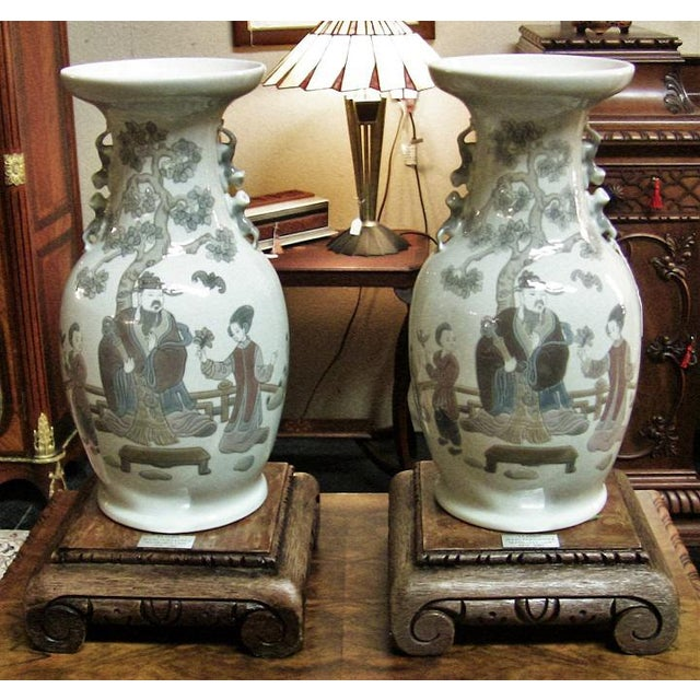 Late 20th Century Lladro Retired Mandarin Vases - Very Rare- A Pair For Sale - Image 5 of 12