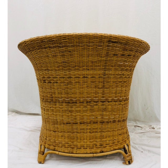 Vintage Palm Beach Chic Woven Wicker Arm Chair For Sale - Image 12 of 13