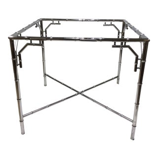 Late 20th Century Chrome Faux Bamboo Card Table Base For Sale