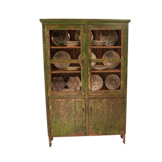 1900s South American Green Painted Pine Cabinet For Sale