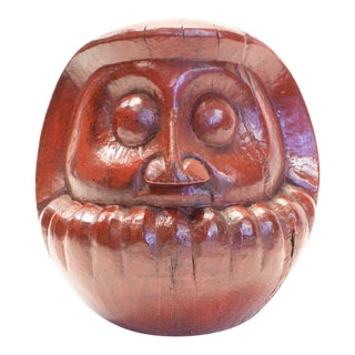 Japanese Lacquered Handcarved Daruma Mold For Sale