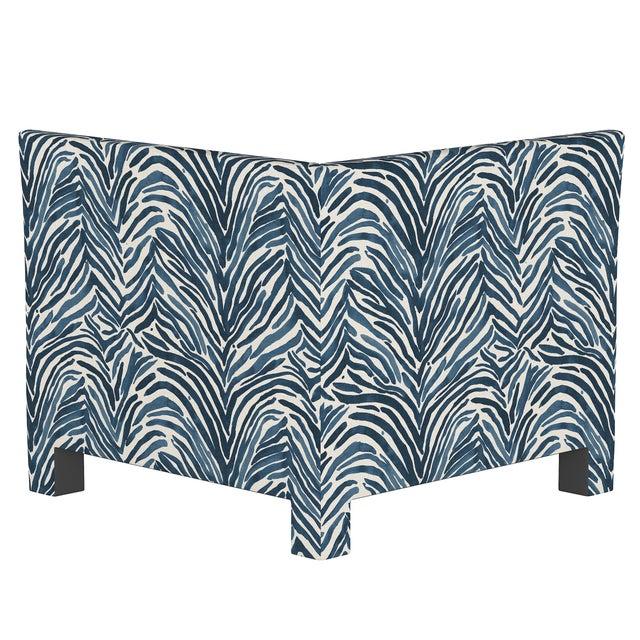 Transitional Washed Zebra Blue Corner Chair For Sale - Image 3 of 7