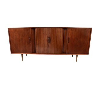 Mid Century Lighted Bar Tambour Door Long Credenza Sideboard Bar Cabinet