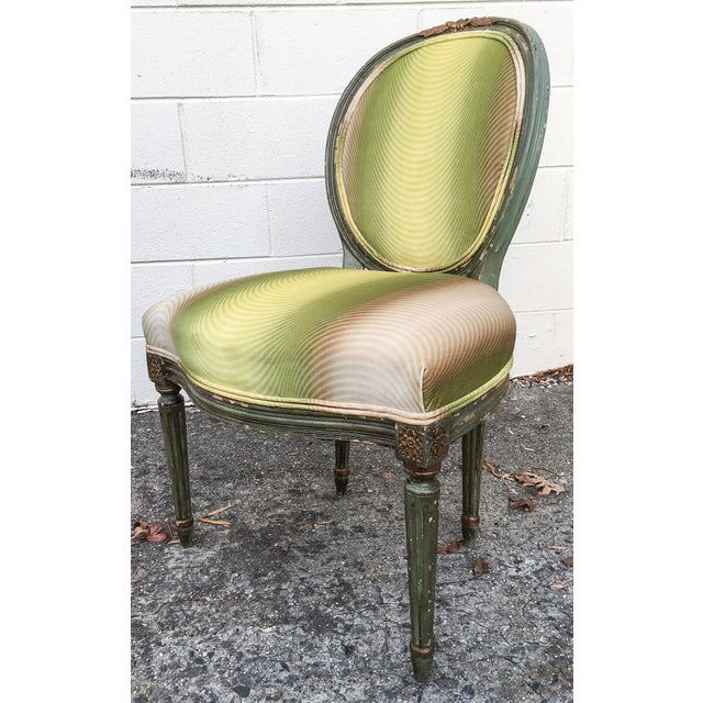 Vervain 19th Century French Fauteuil Chair with Green Ombre Velvet - Image 6 of 9
