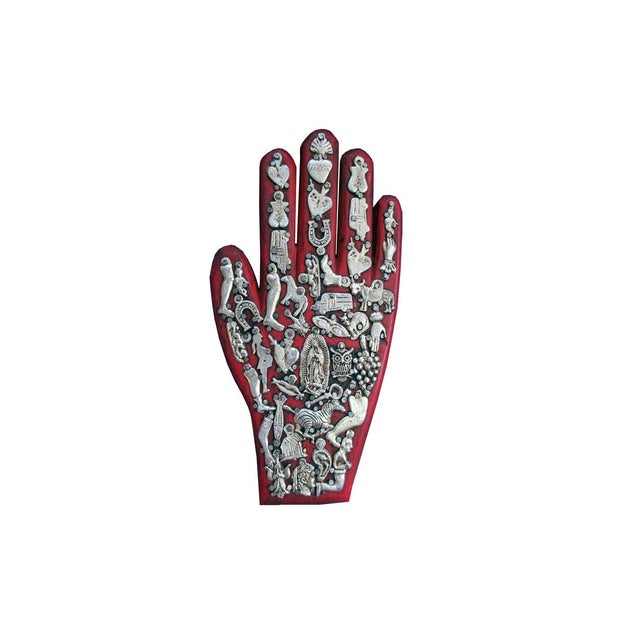 Mexican Folk Art Red Wooden Hand - Image 1 of 4