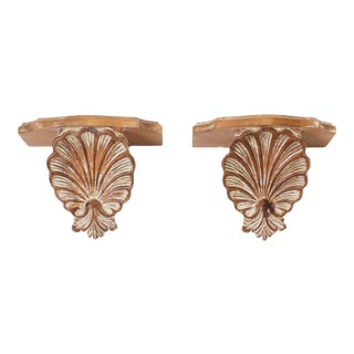 Carved Wood Seashell Brackets - A Pair For Sale
