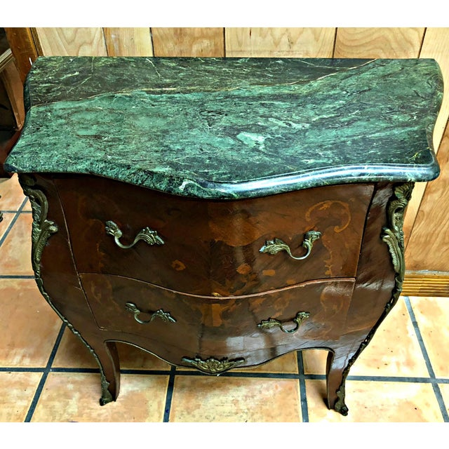 French Marquetry Inlay and Marble Top Commodes - a Pair For Sale - Image 10 of 13