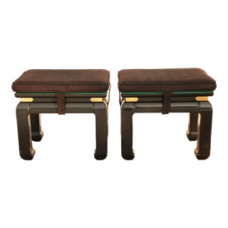 1970s Black Ming Style Ottomans With Brass Details - a Pair For Sale