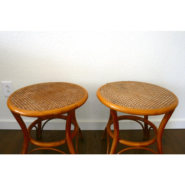 A boho chic pair of vintage rattan and cane accents. Use as side tables in your living room, as nightstands, as stools at...