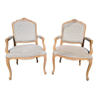 Vintage Blonde Wood Louis XV Style Bergere Armchairs - a Pair
