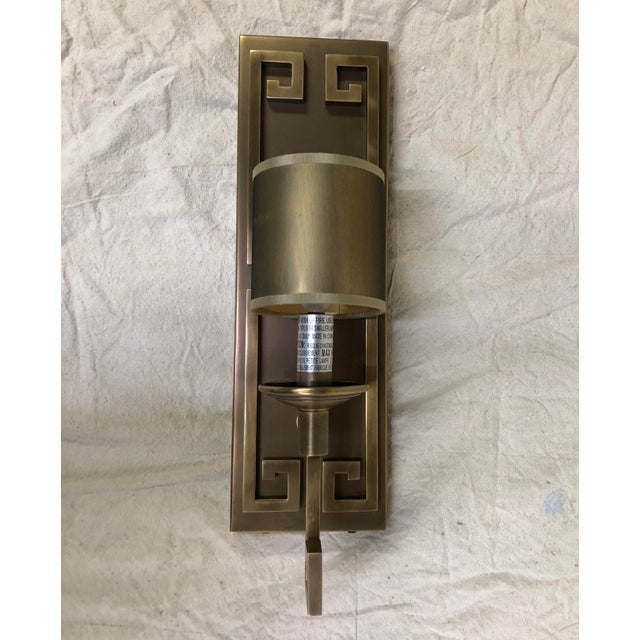 Metal Greek Key Wall Sconce by Currey & Company For Sale - Image 7 of 7