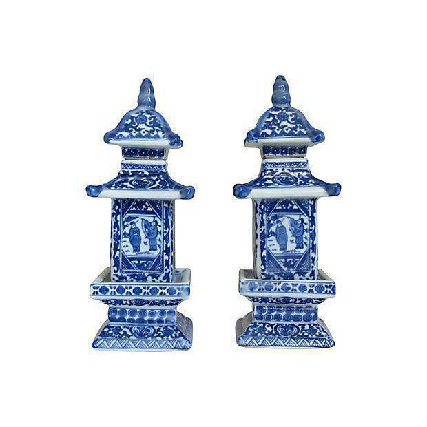Chinese Blue & White Pagoda Jars-A Pair - Image 2 of 4