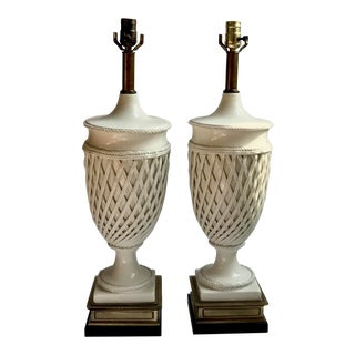 Vintage Frederick Cooper Hollywood Regency Creamware Lamps - a Pair For Sale