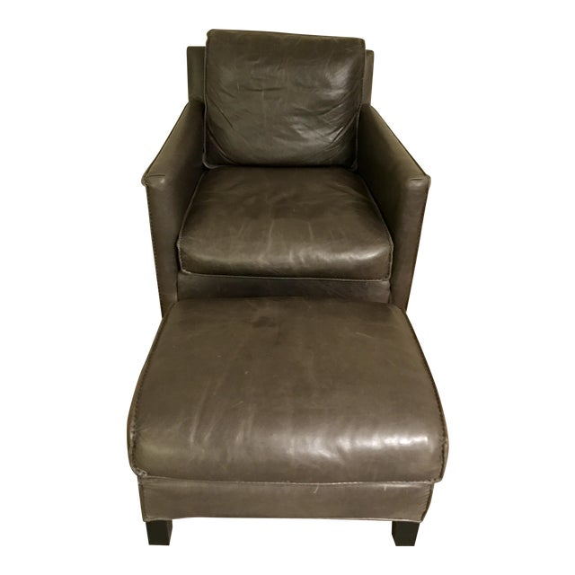 Room & Board Bram Leather Chair & Ottoman For Sale