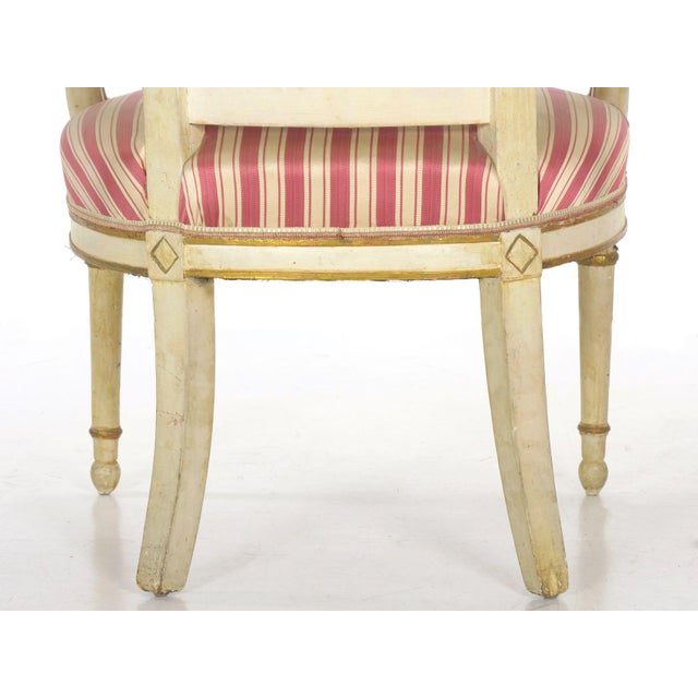 Set of Four Neoclassical White-Painted French Accent Arm Chairs, 19th Century For Sale - Image 11 of 13