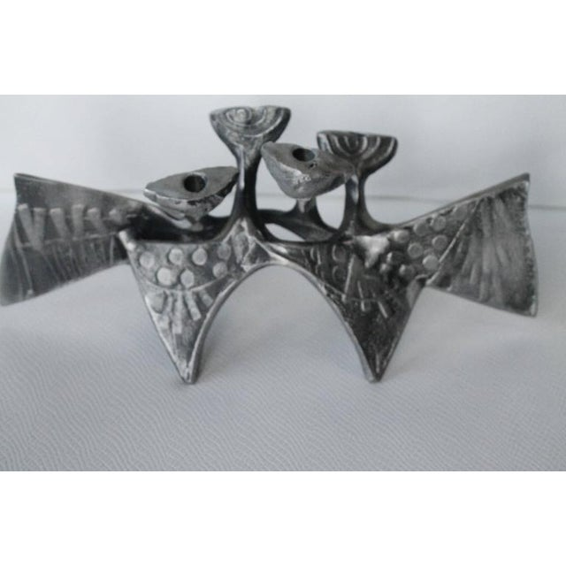Mid 20th Century Donald Drumm Brutalist Cast Aluminum Candle Holder For Sale - Image 5 of 11