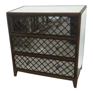 Currey & Company Mirrored Chest of Drawers With Wood Lattice Front For Sale